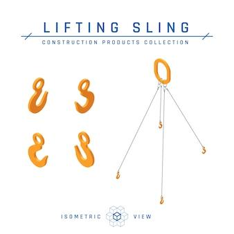 Concetto di imbracature di sollevamento, vista isometrica. collezione di prodotti da costruzione. isolato su uno sfondo bianco in stile piatto.