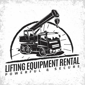 Logo del lavoro di sollevamento, emblema dei timbri di stampa dell'organizzazione del noleggio della macchina della gru, attrezzature per la costruzione, emblema della tipografia della macchina della gru pesante,