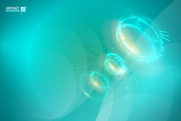 Modello digitale astratto chiaro con forme futuristiche incandescente sulla griglia turchese