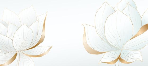Sfondo chiaro con fiori di loto con elementi dorati per il design di banner web, packaging o schermata iniziale dei social media.