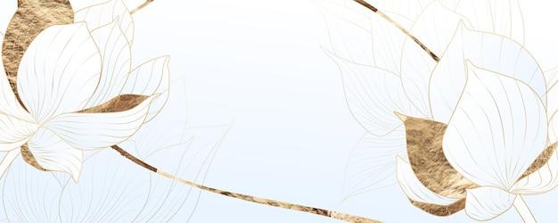 Sfondo chiaro con fiori di loto ed elementi di design dorati. banner in stile orientale con fiori per web, social e packaging