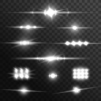 Fasci di luce, effetti vettoriali di bagliore dell'obiettivo