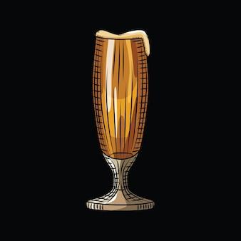 Bicchiere da birra leggero con schiuma su sfondo nero. poster di bevande alcoliche disegnato a mano. illustrazione vettoriale di stile di incisione. design per menu da pub, carte, banner, stampe, imballaggi.