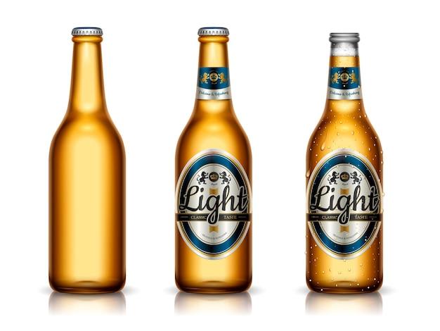 Modello di birra leggera, design della confezione e bottiglie vuote in illustrazione 3d, isolate su superficie bianca