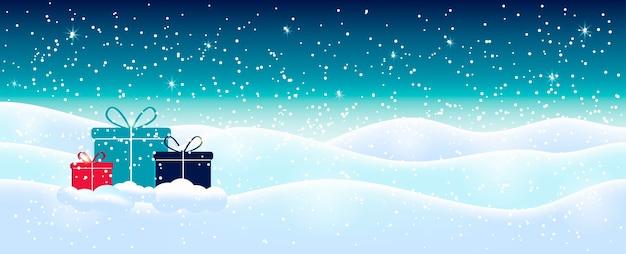Fondo astratto blu-chiaro di natale con i fiocchi di neve scintillanti bianchi. illustrazione di vacanza invernale, paesaggio con regali, spazio per il testo.