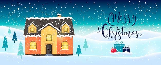 Sfondo di natale astratto azzurro con scritte in casa invernale e fiocchi di neve bianchi scintillanti