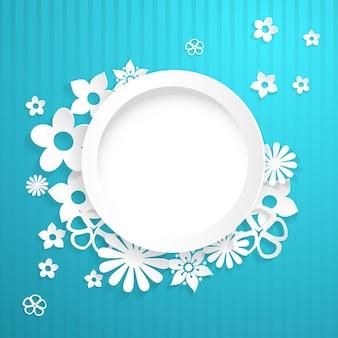 Sfondo azzurro con cerchio bianco e fiori ritagliati dalla carta