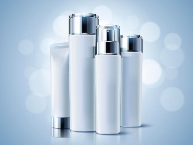 Contenitori cosmetici azzurri, set di mockup di bottiglie vuote