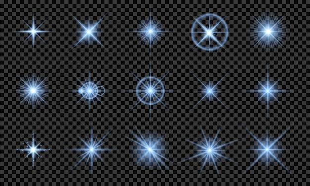 Effetti di luce blu, isolati su sfondo trasparente. luci incandescenti, stelle luminose, lampi di luce. illustrazione vettoriale
