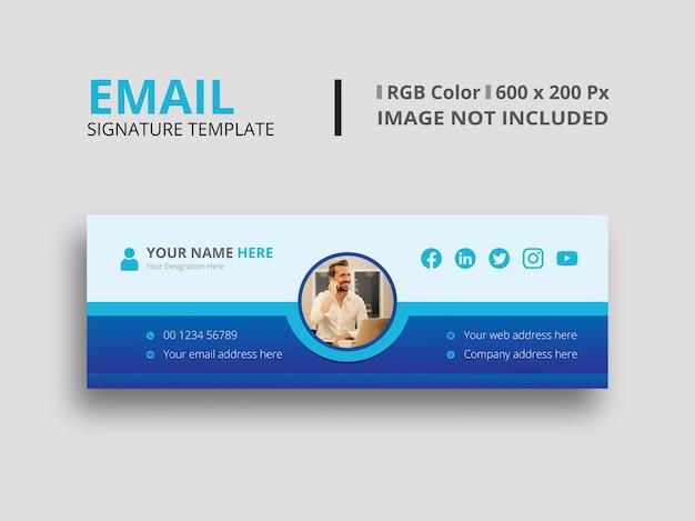 Modello di firma e-mail azzurro