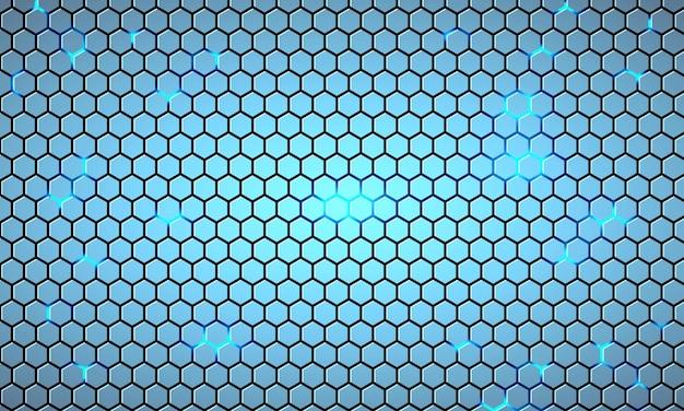 Fondo astratto di tecnologia esagonale azzurro con lampi luminosi