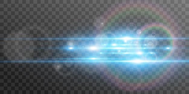 Effetto speciale azzurro incandescente belle linee luminose su uno sfondo scuro