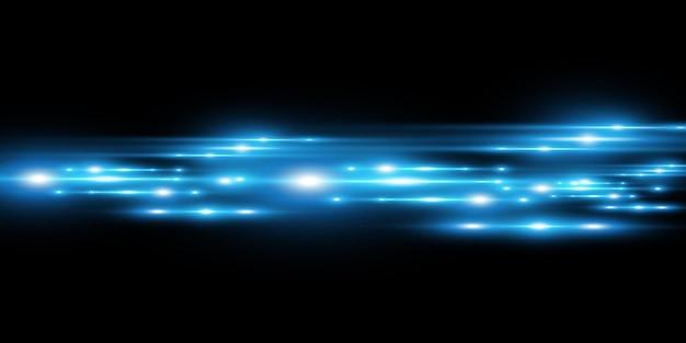 Effetto speciale vettoriale blu chiaro incandescente belle linee luminose su uno sfondo scuro