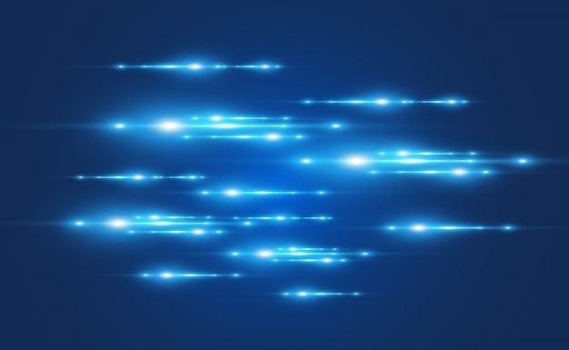 Effetto speciale vettoriale azzurro. incandescente belle linee luminose su uno sfondo scuro.