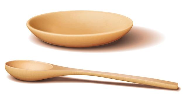 Ciotola di legno marrone chiaro e cucchiaio di legno con ombra realistica Vettore Premium