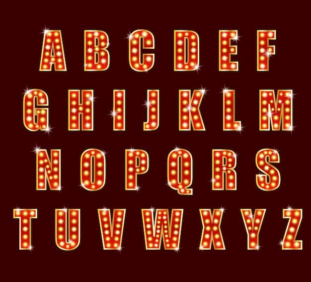 Alfabeto glamour del teatro dello spettacolo di alfabeto della lampadina