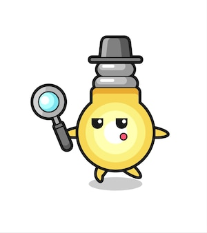 Personaggio dei cartoni animati della lampadina che cerca con una lente d'ingrandimento, design in stile carino per maglietta, adesivo, elemento logo