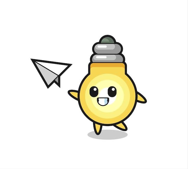 Personaggio dei cartoni animati della lampadina che lancia aeroplano di carta, design in stile carino per maglietta, adesivo, elemento logo