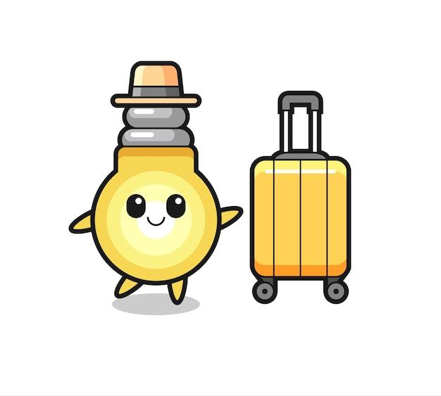 Illustrazione del fumetto della lampadina con i bagagli in vacanza, design in stile carino per maglietta, adesivo, elemento logo