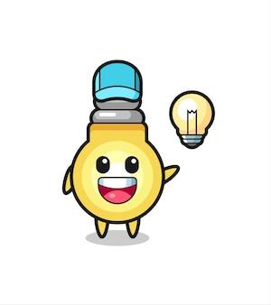 Fumetto del personaggio della lampadina che ottiene l'idea, design in stile carino per maglietta, adesivo, elemento logo