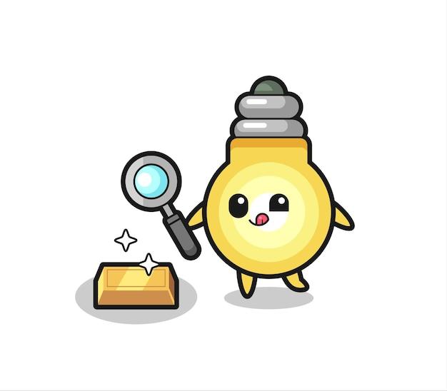 Il personaggio della lampadina sta controllando l'autenticità del lingotto d'oro, design in stile carino per maglietta, adesivo, elemento logo