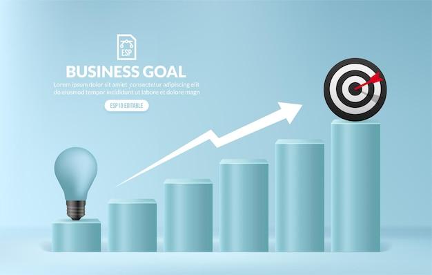 Lampadina che sale le scale per raggiungere un successo, concetto di scala di crescita aziendale, idea creativa per ottenere opportunità nel concetto di carriera