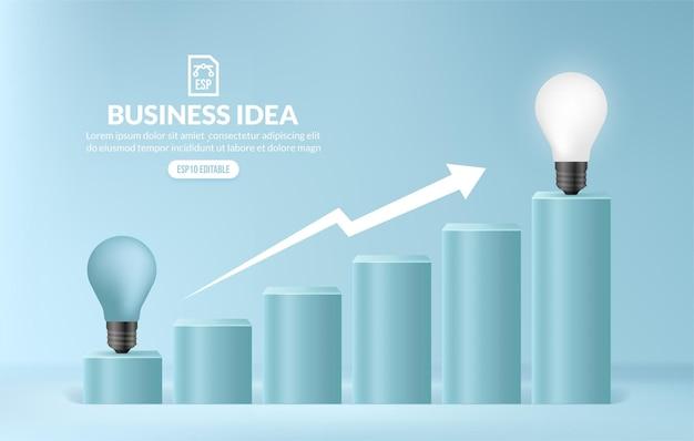 Lampadina salendo le scale per raggiungere una scala di destinazione di un'idea imprenditoriale creativa