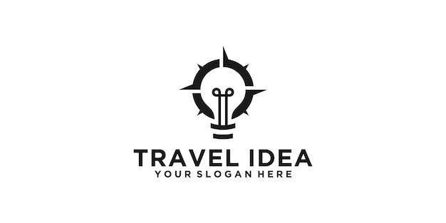 Logo creativo della lampadina e della bussola