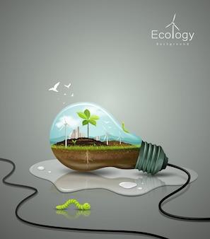 Concetto di ecologia della lampadina, con pianta di germogli, suolo, edificio, unità di energia eolica, verme verde, goccia d'acqua