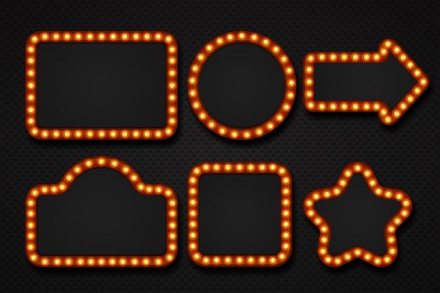 Telaio della lampadina. bordo del grumo del tabellone per le affissioni del tabellone per le affissioni del teatro del casinò del cinema dell'insegna del tendone dello specchio di trucco. cornici di luce 3d