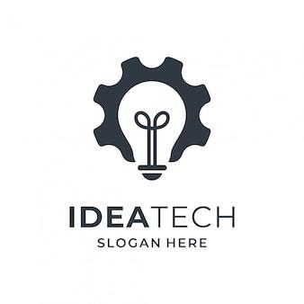 Concetto di logo lampadina e attrezzi per azienda di tecnologia.