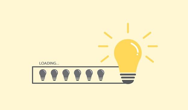 Icona della lampadina che si carica su sfondo giallo idea creativa e concetto di ispirazione
