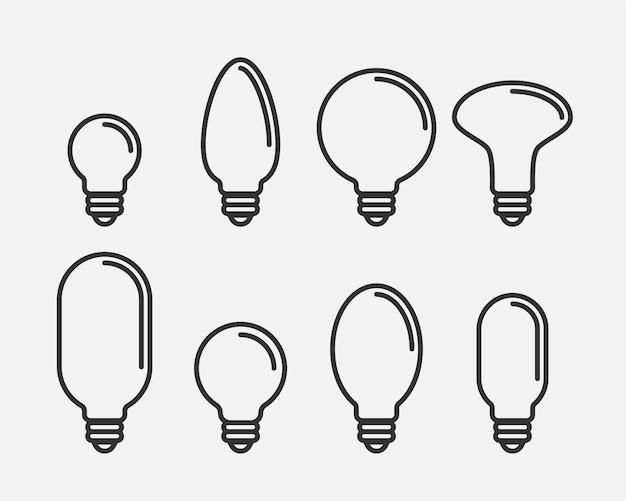 Vettore dell'icona della lampadina. concetto di logo idea lampadina. impostare le lampade elettricità elemento web design icone. siluetta isolata luci led.