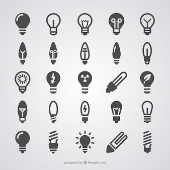 Lampadina icone di luce