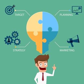 Modello di infographics di affari di puzzle di idea della lampadina.