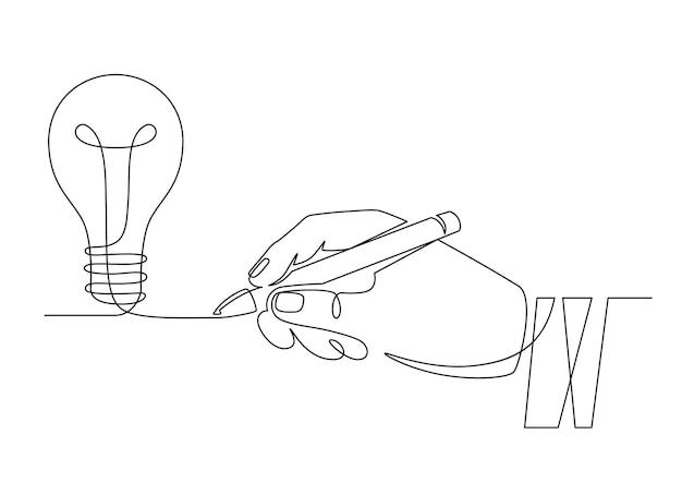 Idea della lampadina. disegna la mano con la penna che disegna una lampadina a una linea, un'invenzione o un simbolo di pensiero creativo. nuovo progetto, concetto di vettore di brainstorming. idea di avvio, illustrazione per la creazione di nuove imprese