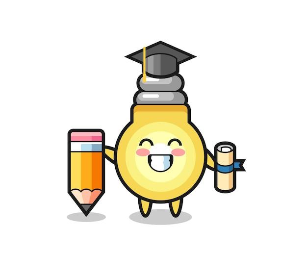 Il fumetto dell'illustrazione della lampadina è la laurea con una matita gigante, un design in stile carino per maglietta, adesivo, elemento logo