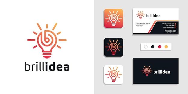 Lettera iniziale della lampadina b. brillante idea logo e modello di biglietto da visita