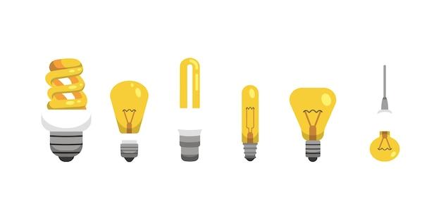 Lampadina e lampada impostate in stile cartone animato. principali tipologie di illuminazione elettrica. illustrazione di idea.