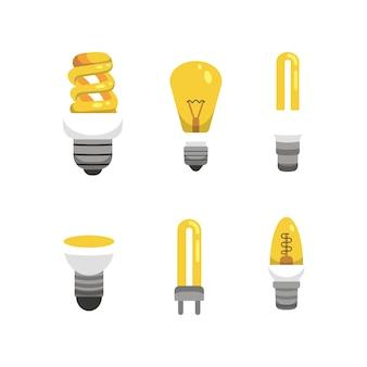 Lampadina e set di lampade. principali tipologie di illuminazione elettrica. illustrazione di idea.