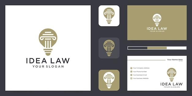 Logo e biglietto da visita di legge della lampadina