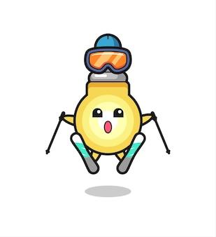 Personaggio mascotte della lampadina come giocatore di sci, design in stile carino per maglietta, adesivo, elemento logo