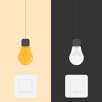 Illustrazione del design dell'interruttore di accensione e spegnimento della lampadina