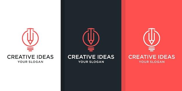 Insieme di ispirazione logo lampadina e matita