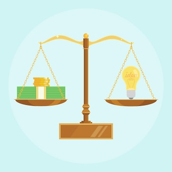Lampadina e pila di denaro in equilibrio sulle scale. l'idea è il concetto di denaro. brainstorm, invenzione o innovazione