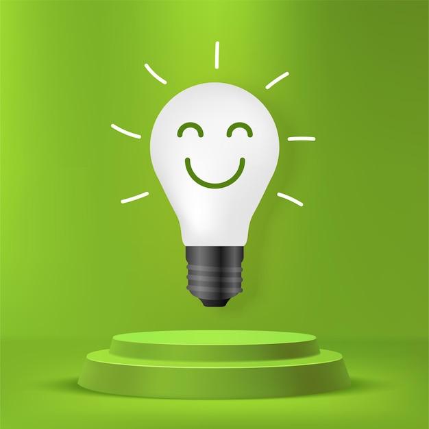 Lampadina in piedi sul podio, concetto di energia sostenibile, innovazione di energia verde rinnovabile