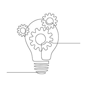 Lampadina con ruote dentate in continuo disegno a tratteggio per logo, emblema, banner web, presentazione. concetto di innovazione creativa. illustrazione vettoriale