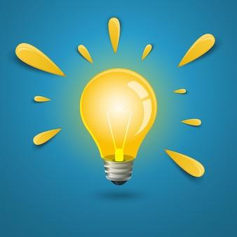 Lampadina con raggi di luce. il concetto di una nuova idea, ispirazione, intuizione.
