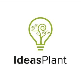 Lampadina con piante a spirale vorticosa semplice design creativo geometrico elegante moderno logo