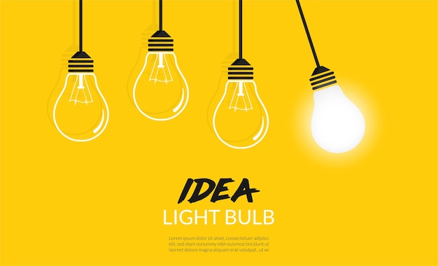 Concetto di lampadine. sfondo idea creativa